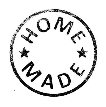 """Rubber stamp with \\\"""" HOME MADE \\\"""" text on white Stock Photo"""
