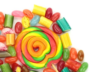 hard candy: Colorful candies on white background