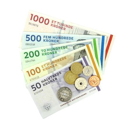Couronnes danoises (DKK), pièces de monnaie et billets de banque.