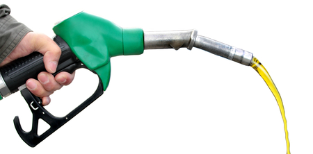 eco car: Pumping fuel on white background. Stock Photo