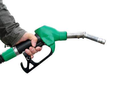 benzin: Man holding fuel pump on white background.