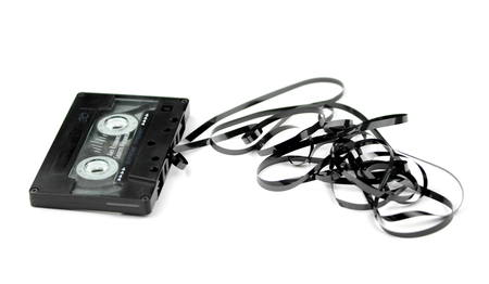 audio cassette: Audio cassette with tape tangle
