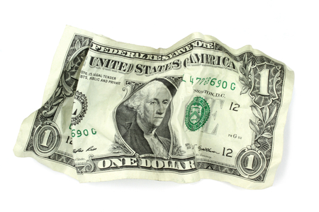 banknote: Crumpled one dollar banknote