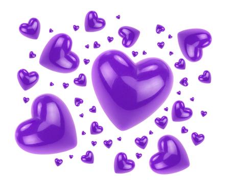 corazones de amor: Lila amor corazones aislados sobre fondo blanco.