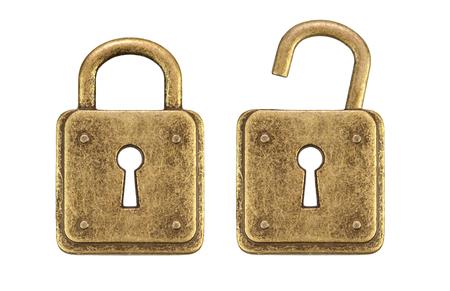 unlocked: Old, vintage padlocks ( locked and unlocked )isolated on white background Stock Photo