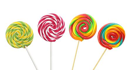 paleta de caramelo: Lollipops espirales de colores sobre fondo blanco