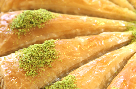 favored: Delicious Turkish sweet, baklava with green pistachio nuts