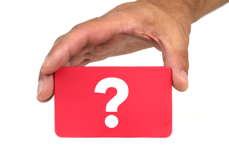forewarn: Hand holding and showing a red card with  QUESTION MARK  Stock Photo