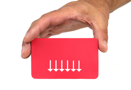 forewarn: Hand holding and showing a red card with arrows