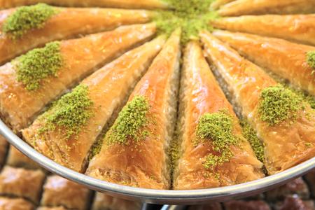 baklawa: Delicious Turkish sweet, baklava with green pistachio nuts
