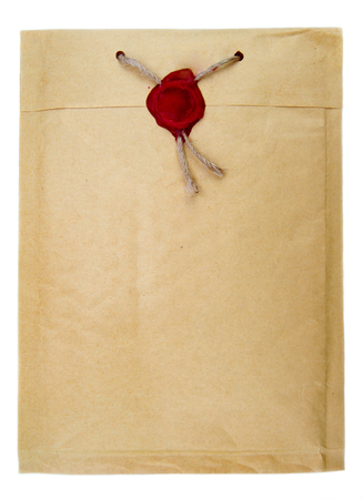 paper old: Top secret mail with rope and wax seal Stock Photo
