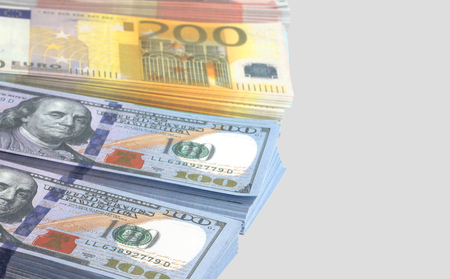 splurge: Euro and dollar banknotes Stock Photo