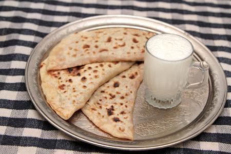 yogurt: Turkish cuisine gozleme and yogurt drink ayran
