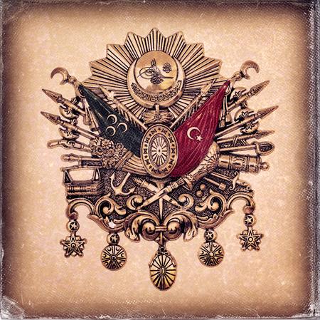 worn paper: Vintage style, worn photo paper look image of Ottoman Empire Emblem, ( Old Turkish Symbol )