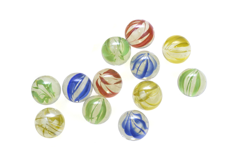 Colorful glass marbles isolated on white background Archivio Fotografico