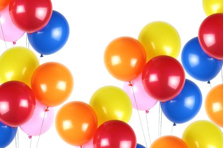 Kleurrijke feestballonnen op witte achtergrond Stockfoto