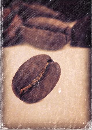 worn paper: Macro image of coffee beans and vintage style, worn photo paper look image Stock Photo