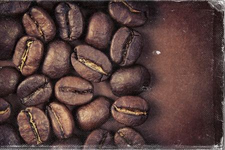 photo paper: Coffee beans and vintage style, worn photo paper look image Stock Photo