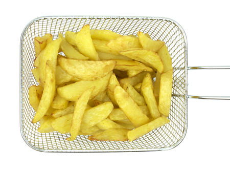 Fried potatoes in deep fryer on white background Banque d'images