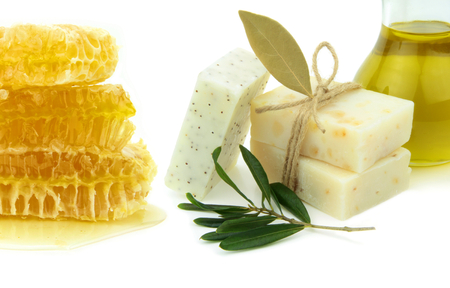 Natural herbal soaps with honey, olive oil and daphne.