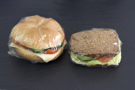 Sandwiches packed with stretch film