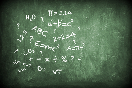 Various hand writing formulas with chalk on blackboard