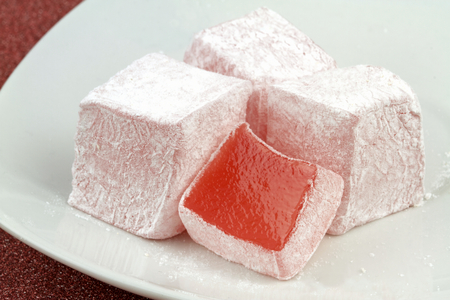 Traditional Turkish delight with rose aroma