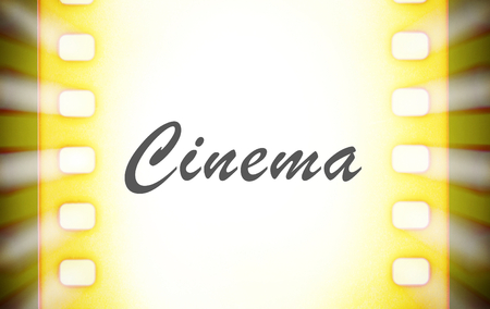 Cinema film strips and projector light rays. Stock fotó