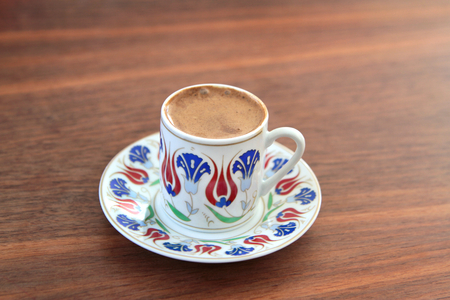 Turkish coffee with traditional ottomans motif cup
