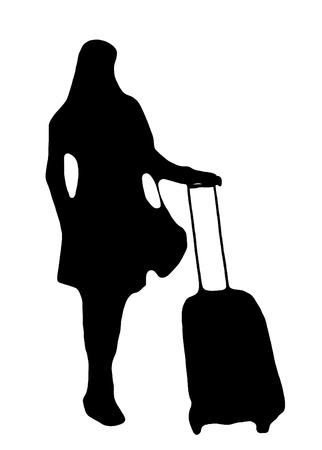 A passenger waiting with baggage 版權商用圖片
