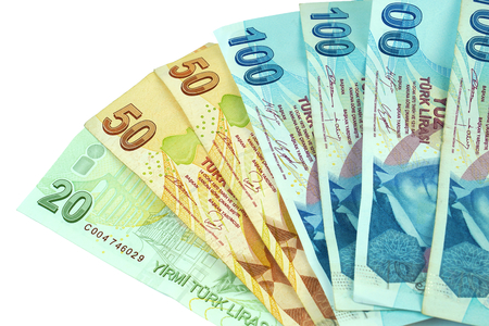 Turkish banknotes. Turkish Lira TRY or TL on white background.