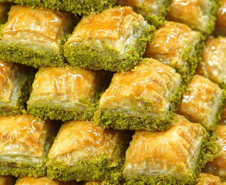 Traditional delicious Turkish baklava with pistachio nuts.