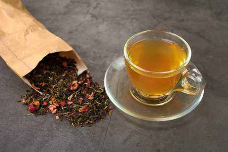 White tea with cranberry fruits