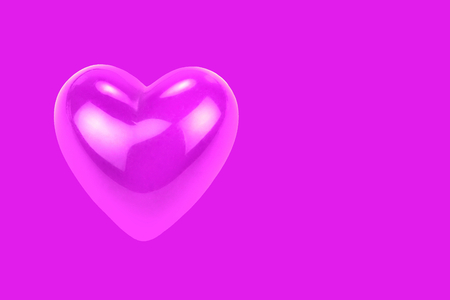 Purple heart shape with reflections isolated on purple background.