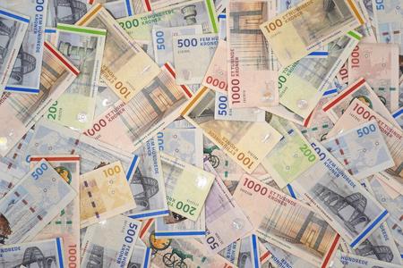 Danish krone banknotes . Reklamní fotografie