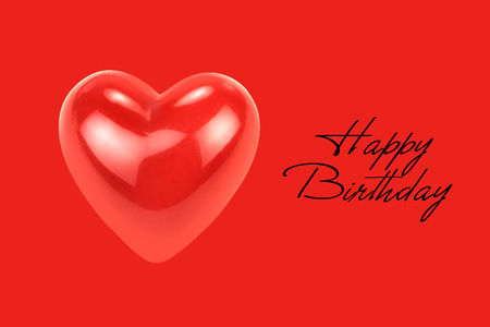 Purple heart shape with  Happy Birthday  text isolated on red background. Reklamní fotografie