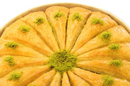 Turkish baklava with green pistachio nuts.