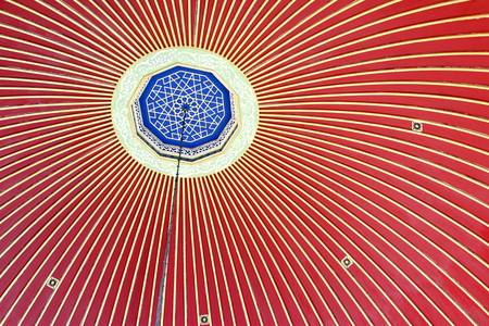 Ottoman patterned dome inside in Istanbul. Fatih mosque ablutions fountain dome.