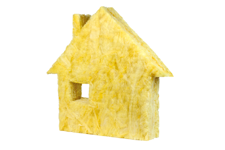 Shape of house with glass wool isolated on white background