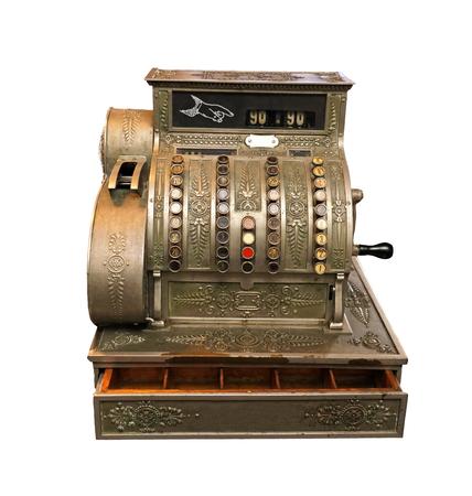 Vecchio registratore di cassa vintage isolato su sfondo bianco