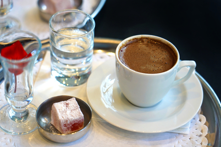 Traditional Turkish coffee and Turkish delight 写真素材