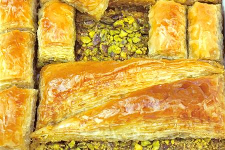 Delicious Turkish baklava with pistachio nuts