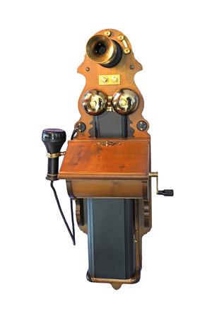 Vintage,  antique hand-crank wall phone