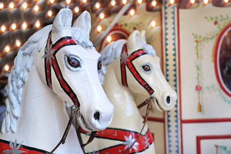 Carousel horse in the amusement park