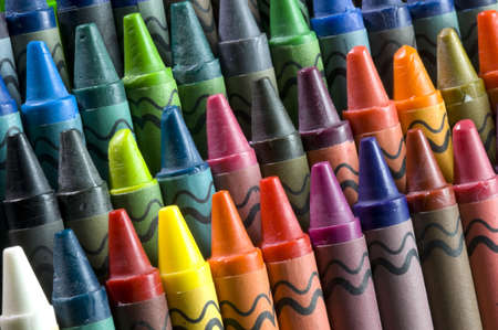 Rows of crayons at an angle across the frame.