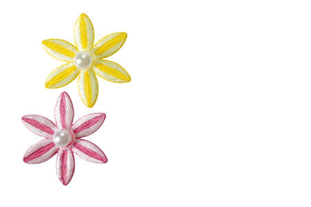 Pink and yellow applique flowers isolated on a white background, could be used for business card or invitations.