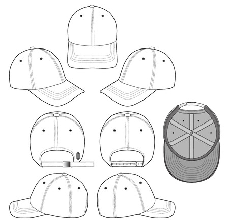 Baseball cap vector illustration flat sketches template