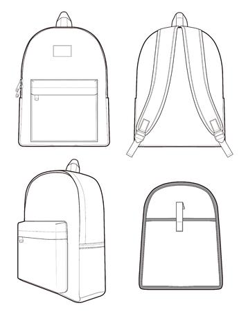 Basic Backpack vector illustration flat sketches