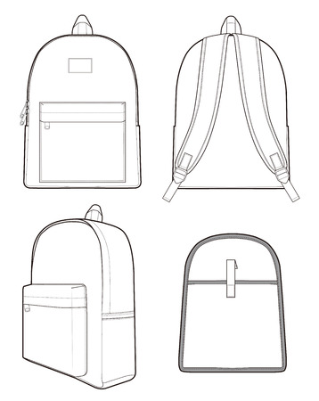 Backpack Fashion technical drawings vector template 矢量图像