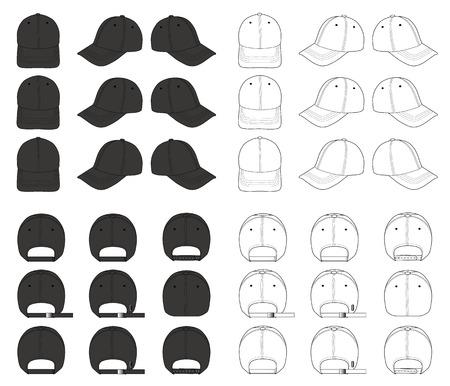 Plantilla de bocetos planos de ilustración de vector de gorra de béisbol